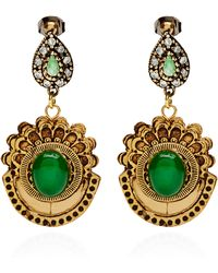 Masterpeace - Carved Birch Wood and Malachite Earrings - Lyst