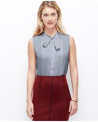 Ann Taylor Pintucked Tie Neck Top - Lyst
