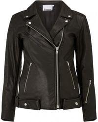 T By Alexander Wang | Long Leather Biker Jacket | Lyst