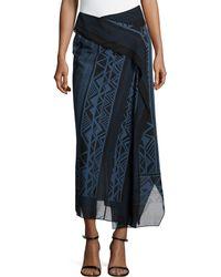Donna Karan New York Midi Border-Print Scarf Skirt - Lyst