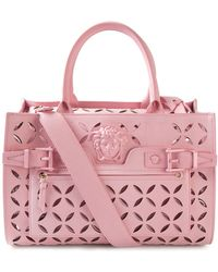 Versace 'Palazzo' Perforated Tote pink - Lyst