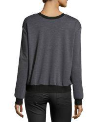 Nicole Miller - Printed-silk Combo Sweatshirt - Lyst