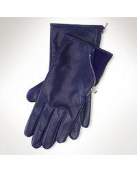 Lauren by Ralph Lauren - Leather Zip Gloves - Lyst