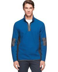 Calvin Klein Quarter-zip Mixed Media Hidden-hood Sweatshirt - Lyst