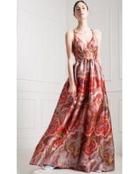 Temperley London Long Arazzi Strappy Dress red - Lyst