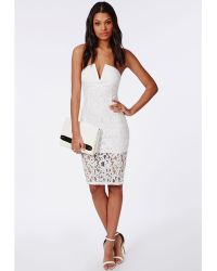 Missguided Lace Bandeau Dress White - Lyst