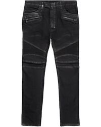 Balmain Waxed Slim Fit Biker Jeans - Lyst