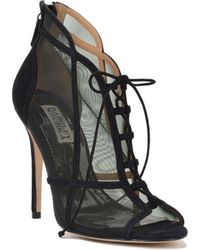 Badgley Mischka Foley Lace-Up Mesh Paneled Bootie - Lyst
