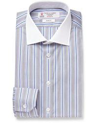Turnbull & Asser Grey Slim-fit Striped Cotton Shirt - Lyst