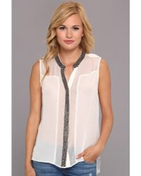 Aryn K. - Beaded Trim Button Blouse - Lyst