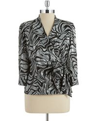 Alex Evenings Plus Zebra Print Wrap Front Top - Lyst