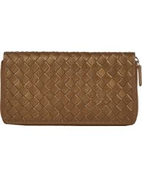 Barneys New York Woven Leather Long Wallet - Lyst