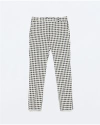 Zara Gingham Narrow Trousers - Lyst
