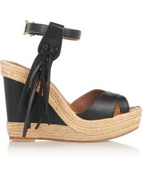 Valentino Fringed Leather Espadrille Wedge Sandals - Lyst