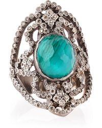 Armenta - New World Scroll Ring With Malachite/blue Topaz & Diamonds - Lyst