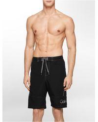 Calvin Klein White Label Logo Mesh Piping Boardshorts black - Lyst