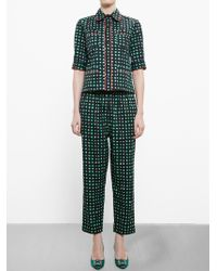Marni Cropped Check Print Trousers - Lyst