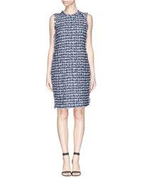 St. John Fringe Lurex Bouclé Knit Dress blue - Lyst