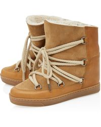 Isabel Marant Tan Nowles Shearling Leather Snow Boots - Lyst