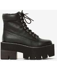 Nasty Gal Jeffrey Campbell Nirvana Leather Boot - Black Square - Lyst