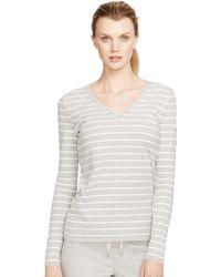 Lauren by Ralph Lauren Striped Cotton V-Neck Top - Lyst