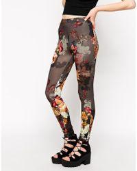 Asos Leggings In Floral Print gray - Lyst