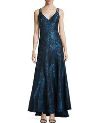 Vera Wang Sleeveless Jacquard Evening Gown - Lyst