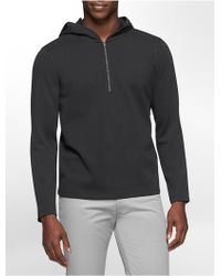 Calvin Klein White Label Classic Fit 1/4 Zip Cotton Blend Hoodie - Lyst