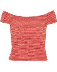 River Island Red Stripe Shirred Bardot Top - Lyst