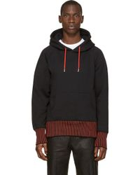 Christopher Kane Black and Red Striped Trim Hoodie - Lyst