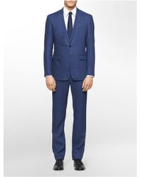 Calvin Klein White Label X Fit Ultra Slim Fit Blue Linen Suit - Lyst