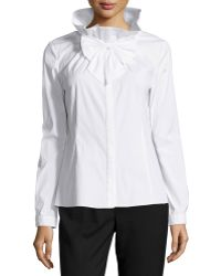 Studio 148 By Lafayette 148 New York - Bow-front Woven Long-sleeve Blouse - Lyst