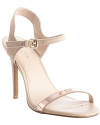 Charles By Charles David Camel and Rose Gold Suede Reverse Heel Sandals - Lyst