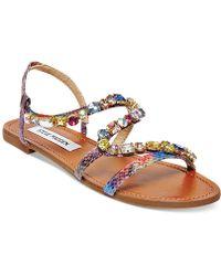 Steve Madden Blazzzed Jeweled Flat Sandals - Lyst