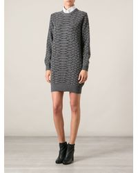 Cedric Charlier Snake Skin Pattern Dress - Lyst