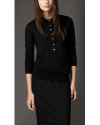 Burberry Merino Wool Knit Polo - Lyst