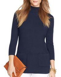 Ralph Lauren Lauren Mockneck Tunic Sweater - Lyst