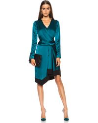 J. Mendel Asymmetrical Wrap Silk Dress - Lyst