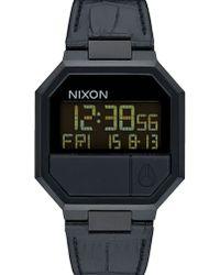 Nixon | Black Re-run Croc Leather Watch | Lyst