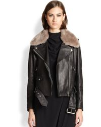 Acne Studios Mape Lamb Shearling-trimmed Leather Jacket - Lyst