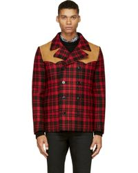 Saint Laurent Red Plaid and Suede Caban Coat - Lyst
