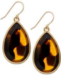 Kate Spade New York Gold-tone Tortoise Teardrop Earrings - Lyst