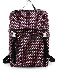 Prada Octagon Print Nylon Backpack - Lyst