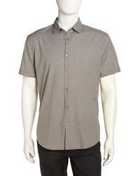John Varvatos Shortsleeve Check Poplin Shirt - Lyst