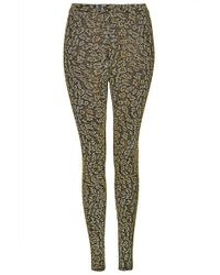 Topshop Petite Leopard Glitter Leggings - Lyst