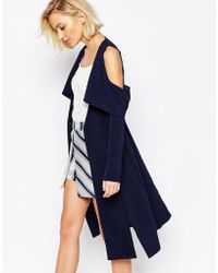 Lavish Alice - Collarless Cape Coat With Cold Shoulder - Navy - Lyst