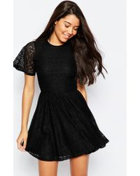 ASOS | Skater Dress With Lace Back And Keyhole | Lyst