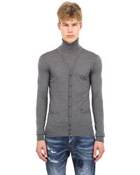 DSquared2 Turtle Neck Layered Wool Sweater - Lyst