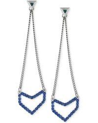 BCBGeneration - Silver-tone Blue Crystal Geometric Chain Drop Earrings - Lyst