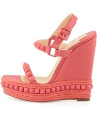 Christian Louboutin Cataclou Studded Wedge Sandal Pink - Lyst